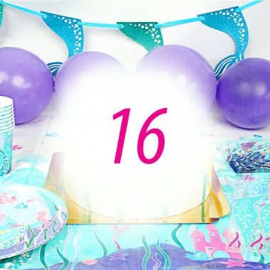 Meerjungfrauen-Partyset für 16 Personen - ohne Torte
