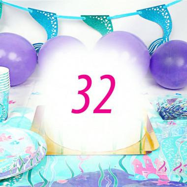 Meerjungfrauen-Partyset für 32 Personen - ohne Torte