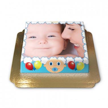 Fototorte im blauen Baby-Design