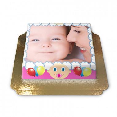 Fototorte im rosa Baby-Design