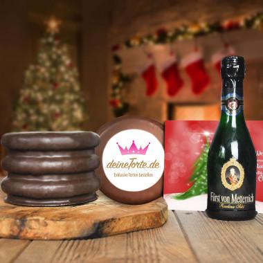 300g Logo Baumkuchen mit Sektflasche und Weihnachtskarte