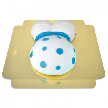 Babybauch-Torte mit blauem Band