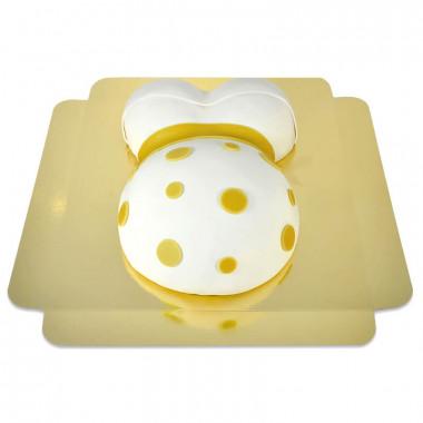 Babybauch-Torte mit gelbem Band
