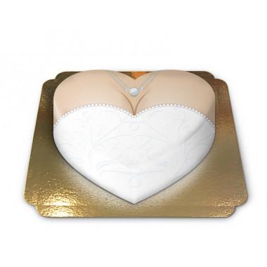 Hochzeitskleid-Torte in Herzform