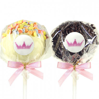 12 Cake-Pops mit Logo, Red Velvet & Chocolate Chips
