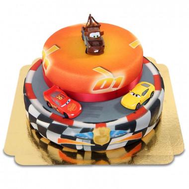 Cars 2 - Lightning McQueen, Cruz Ramirez und Hook auf zweistöckiger Rennstrecke-Torte mit Band