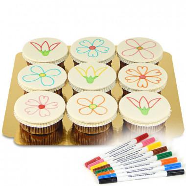 9 Cupcakes mit Lebensmittelstiften