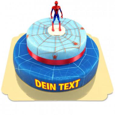 Spider-Man auf zweistöckiger Spinnennetz-Torte mit Band
