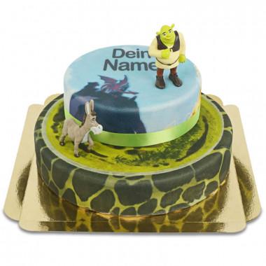 Shrek und Esel auf zweistöckiger Märchen-Torte