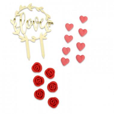 Dekoset Valentinstag, rot