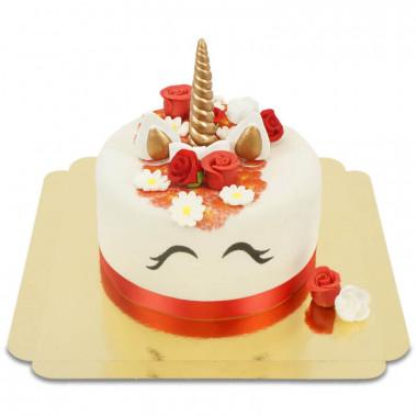 Rote Einhorn-Deluxe-Torte - doppelte Höhe