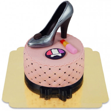 Deluxe Make-Up Torte, Rund doppelte Höhe mit Schokoschuh