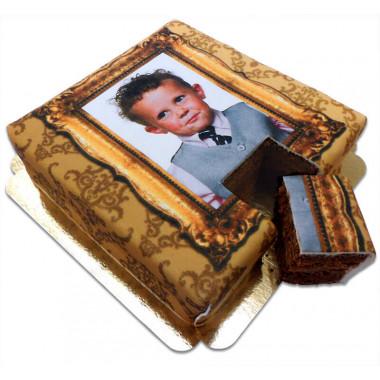 Fototorte Deluxe - Goldrahmen auf Dubbel-Fudge-Torte