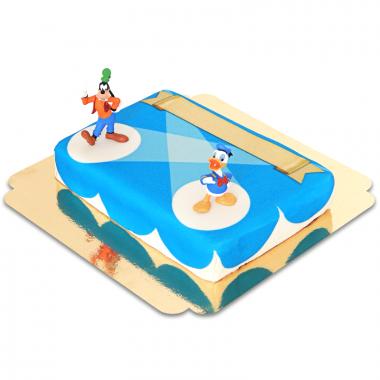 Donald und Goofy auf Bühne-Torte