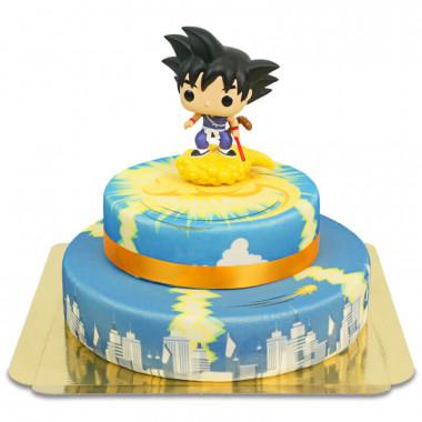 Kid Son Goku auf 2-stöckiger Jindujun über Stadt-Torte