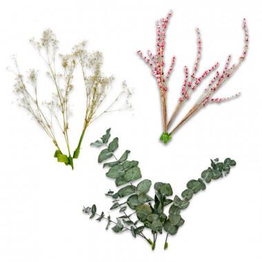 Trockenblumen deko mit Eukalyptus, Schleierkraut und Lavendel pink