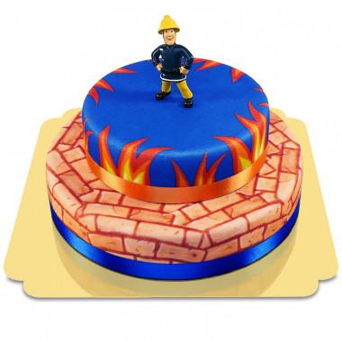 Feuerwehrmann Sam auf zweistöckiger Feuer-Torte