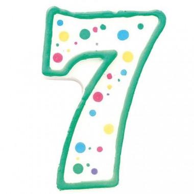 Grüne Zahlen-Kerze 7, ca.7,5 cm