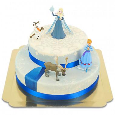 Eiskönigin Elsa, Schwester Anna & Olaf auf 2-stöckiger Eis-Torte