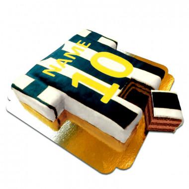 Fußballtrikot-Torte, vertikale Streifen - verschiedene Farben