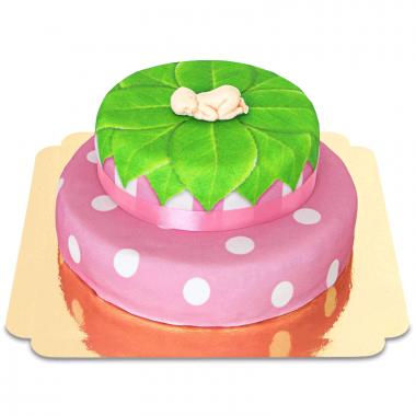 Baby-Figur auf 2-stöckiger Torte, pink