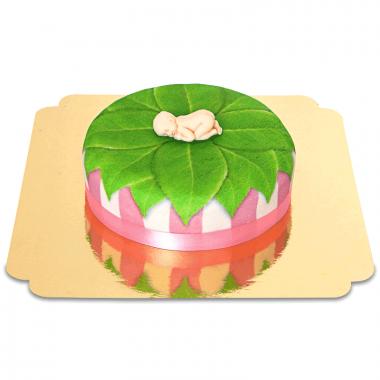 Baby-Figur auf Natur-Torte, pink - 18cm rund