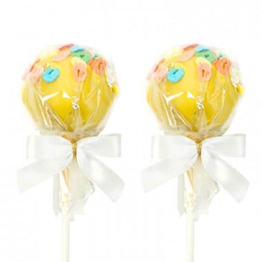 Gelbe Buchstaben Cake-Pops (12 Stück)
