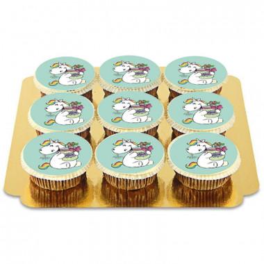 9 Grüne Pummeleinhorn Glücks-Cupcakes