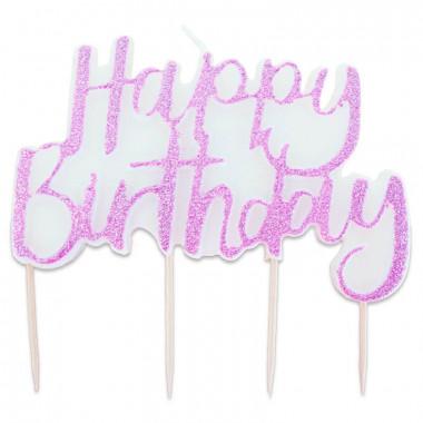 Tortenkerze, Happy Birthday Pink