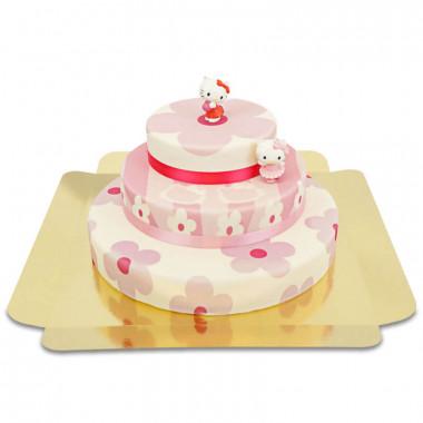 Hello Kitty Figuren auf 3-stöckiger rosa Blumen-Torte