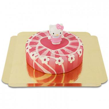 Hello Kitty auf rosa Herzen-Torte