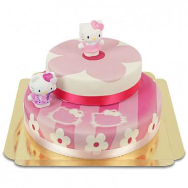 Hello Kitty Figuren auf 2-stöckiger rosa Blumen-Torte