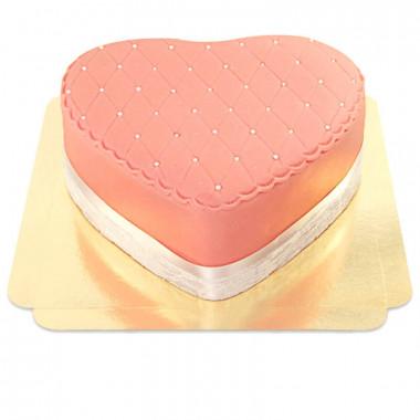 Pinke Deluxe Valentinstagstorte in Herzform - doppelte Höhe