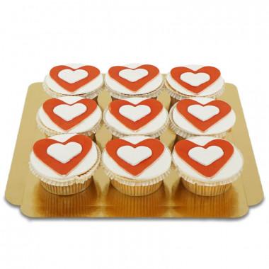 Herzen-Cupcakes, 9 Stück