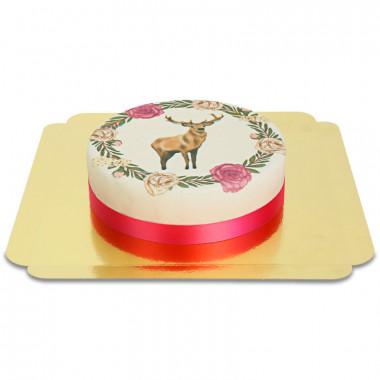 Hirsch mit Blumenkranz-Torte