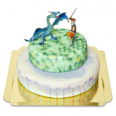 Zweistöckige Fantasy-Torte mit Drachenfigur