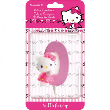 Hello Kitty Tortenkerze mit Zahl 0