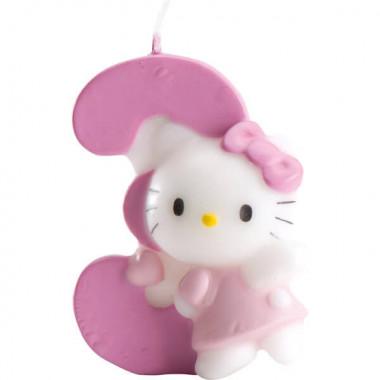 Hello Kitty Tortenkerze mit Zahl 3