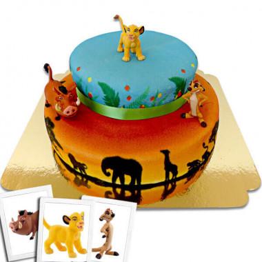 Simba, Timon & Pumba auf 2-stöckiger Savannen-Torte