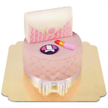 Deluxe Make-Up Torte, Rund doppelte Höhe mit weißer Schokotasche