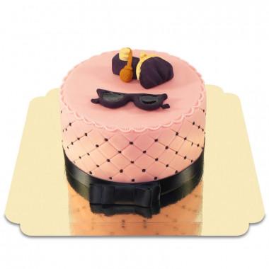 Deluxe Make-Up Torte mit lila Sommer Deko