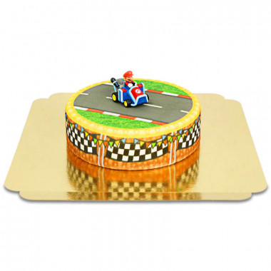 Mario Kart auf Graslandstrecken-Torte