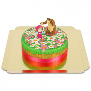 Mascha und der Bär auf Blumen-Torte