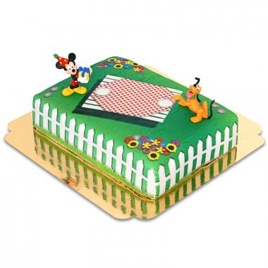 Micky Maus und Pluto auf Geburtstags-Picknick-Torte