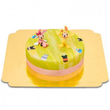 Micky und Minnie Maus auf grüner Oster-Torte
