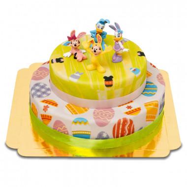 Disney Figuren auf zweistöckiger Oster-Torte