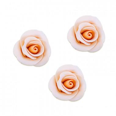 Pfirsichfarbene Zucker-Rose, ca. 28 mm (3 Stück)