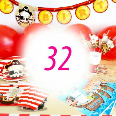 Piraten-Partyset für 32 Personen - ohne Torte