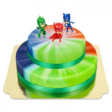 PJ-Masks auf zweistöckiger Helden Torte
