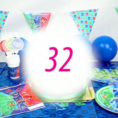 PJ Masks-Partyset für 32 Personen - ohne Torte